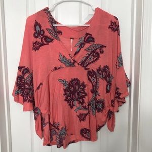 Free People Coral Paisley Flowy Sleeve Shirt Pink